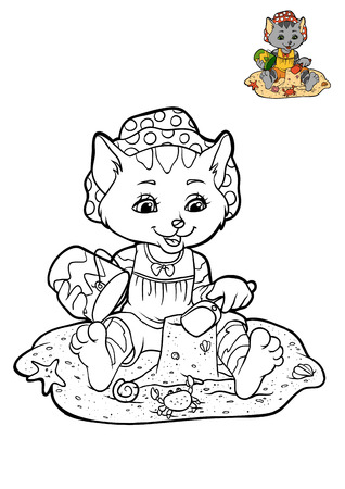 Coloring book for children, cartoon character, little Cat on the beach