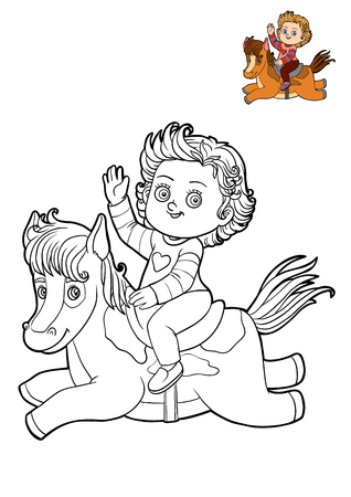 Coloring book for children, cartoon characters Girl and horse Stock Photo