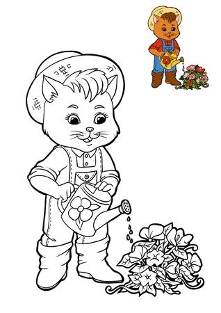 Coloring book for children, cartoon character, Cat gardener Stock Photo