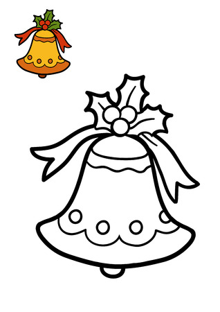 coloration: Coloring book for children, Christmas bell Stock Photo