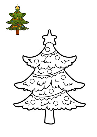 bitmaps: Coloring book for children, Christmas tree
