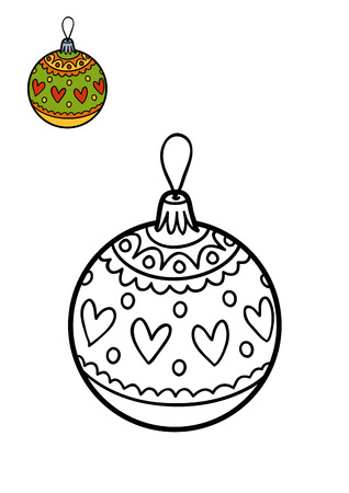 christmas toy: Coloring book for children, Christmas tree toy, Christmas ball Stock Photo