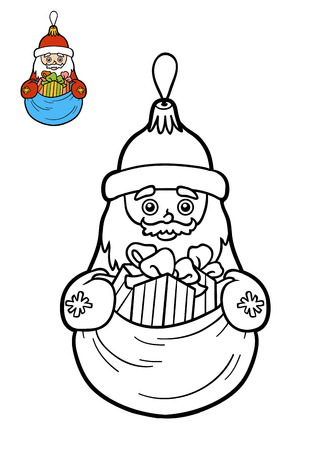 Coloring Book For Children, Christmas Tree Toy, Santa Claus Stock ...