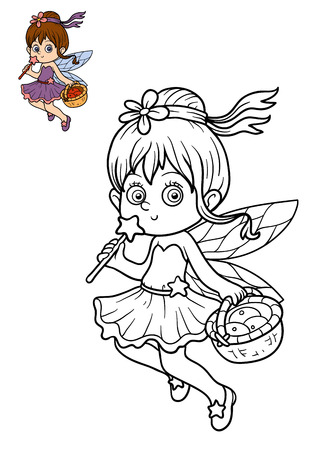 Coloring book for children, Fairy girl Stock Photo