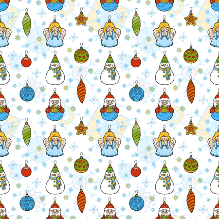 ball lump: Color seamless pattern, set of Christmas tree toys on white background Stock Photo