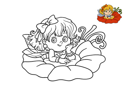 coloration: Coloring book for children, Fairy girl Stock Photo