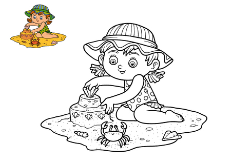 coloration: Coloring book for children, Girl on the beach