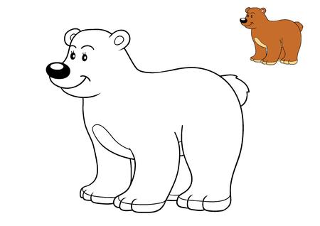 oso blanco: Libro de colorante para los niños, oso Foto de archivo