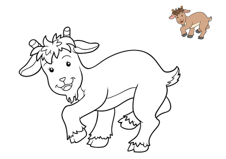 Coloring book for children, Goat Stock Photo