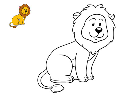 undomestic: Coloring book for children, Lion Stock Photo