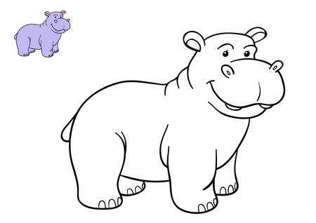 hippopotamus: Dibujo para colorear para niños, Hippo