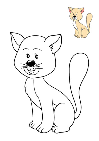 coloration: Coloring book for children, Cat Stock Photo
