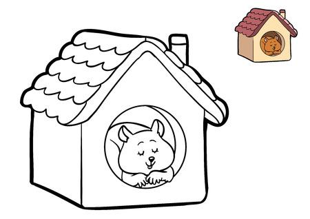 children studying: Coloring book for children, Hamster Stock Photo
