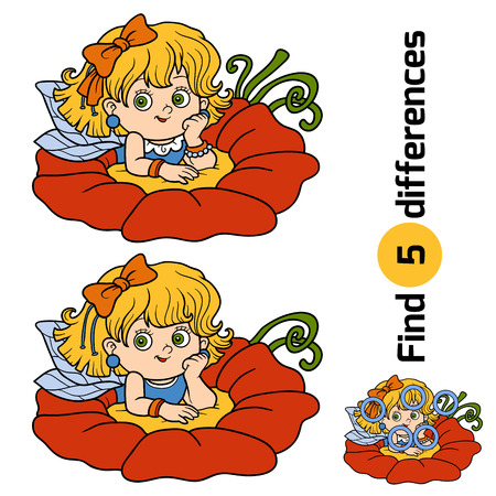 Find differences, game for children: little fairy girl