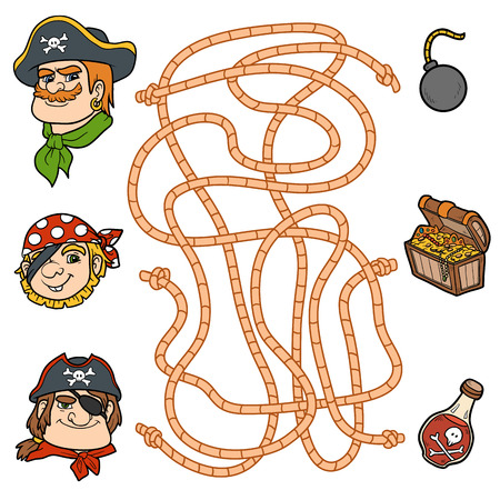 toy chest: Maze game, education game for children. Pirate characters and items