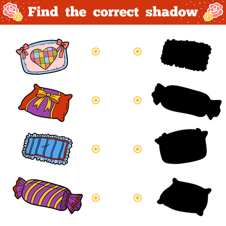 Find the correct shadow, education game for children. Vector cartoon set of pillows