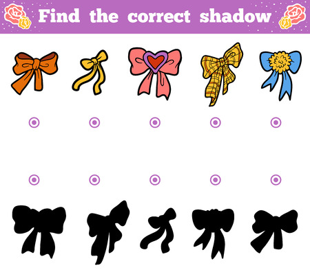 enigma: Find the correct shadow, education game for children. Vector cartoon set of bows