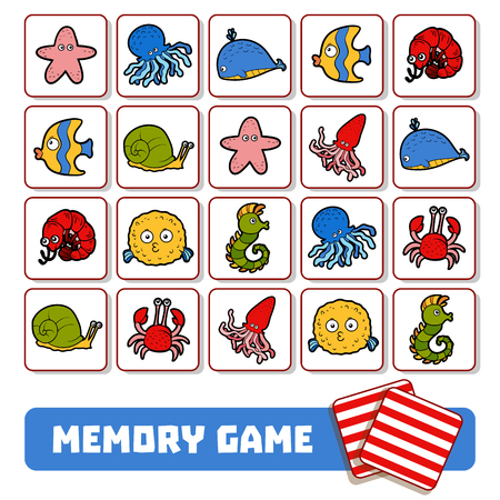 Memory game for preschool children, vector cards with sea animals
