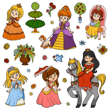 nobleman: Color set of princess, vector cartoon collection of childrens characters Illustration