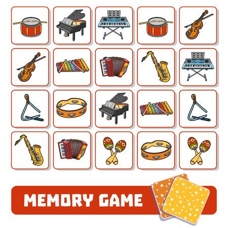 gra pamięciowa dla dzieci w wieku przedszkolnym, karty wektor z instrumentami muzycznymi