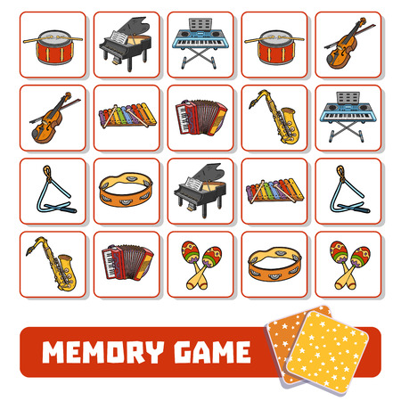 Memory game for preschool children, vector cards with musical instruments
