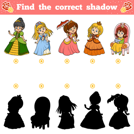 Find the correct shadow, education game for children. Vector set of princess Illustration
