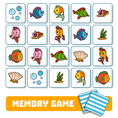 Memory game for preschool children, vector cards about sea world