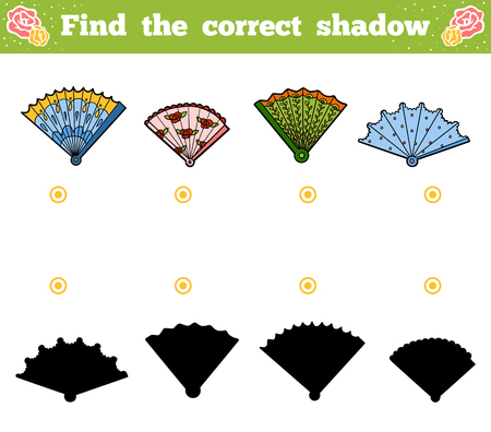 Find the correct shadow, education game for children. Vector set of fans