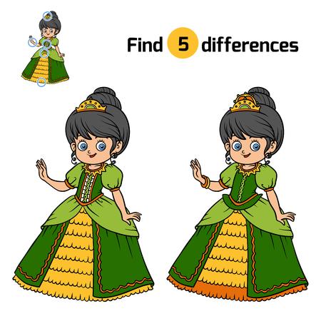 Find differences, education game for children, Princess Illustration