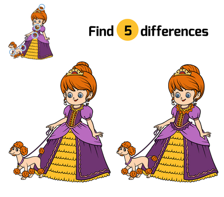 Find differences, education game for children, Princess with dog Illustration