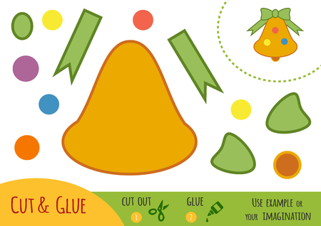 learning new skills: Education paper game for children, Christmas bell. Use scissors and glue to create the image.
