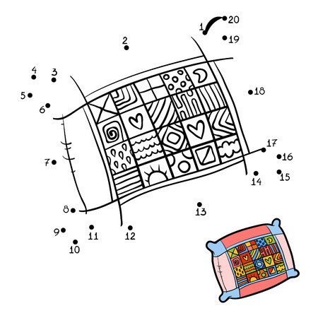 Numbers game, education dot to dot game for children, Pillow