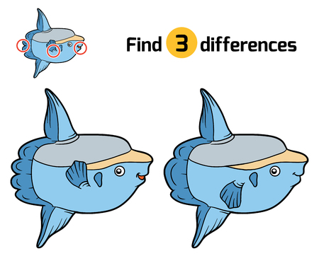 sunfish: Find differences, education game for children, Ocean sunfish