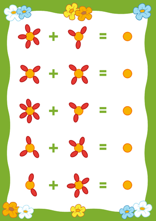 Counting Game for Preschool Children. Educational a mathematical game. Count the numbers in the picture and write the result Illustration