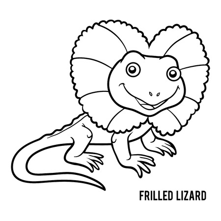 エリマキトカゲの子供のための塗り絵  イラスト・ベクター素材