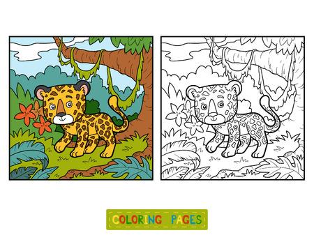 undomestic: Coloring book for children, jaguar and background Illustration