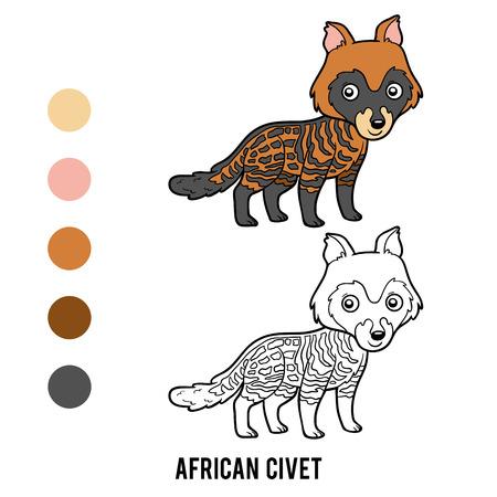 Coloring book for children, African civet