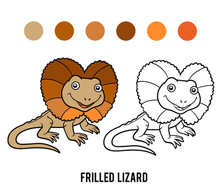 frilled: Coloring book for children, Frilled lizard