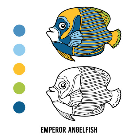 pomacanthus imperator: Coloring book for children, Emperor angelfish Illustration