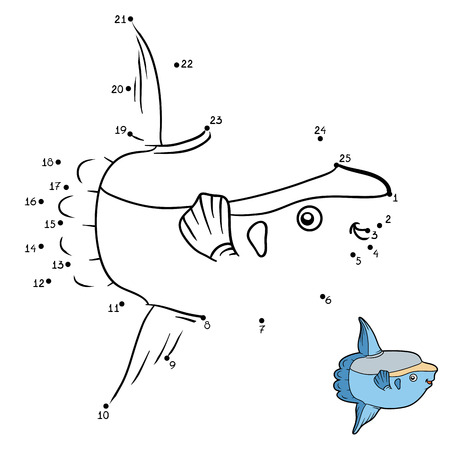 sunfish: Numbers game, education dot to dot game for children, Ocean sunfish
