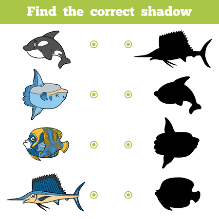 Find the correct shadow, education game for children. Vector set of sea animals Illustration