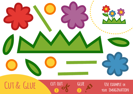 Education paper game for children, Flowers. Use scissors and glue to create the image.