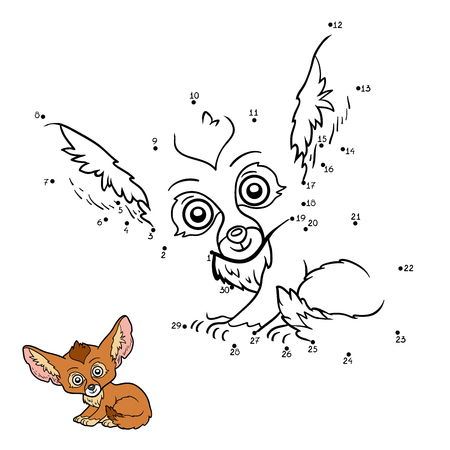 Numbers game, education dot to dot game for children, Fennec fox