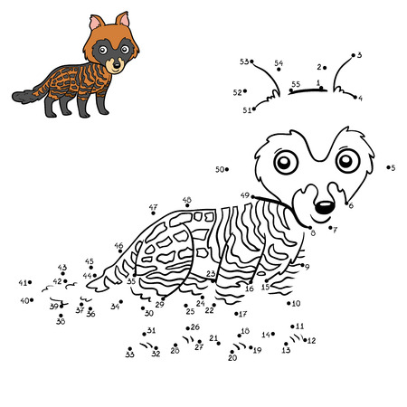 Numbers game, education dot to dot game for children, African civet