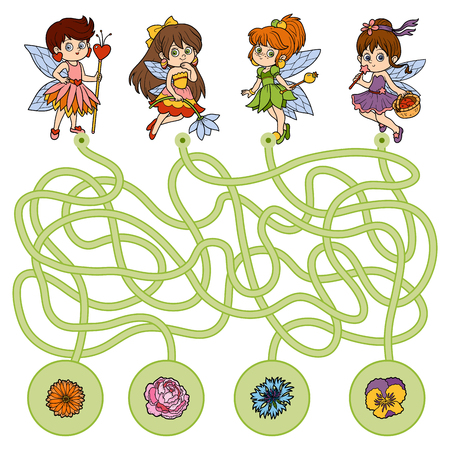 Maze game, education game for children. Little fairies and flowers