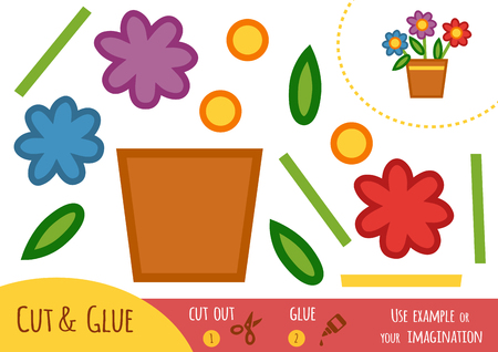 Education paper game for children, flowers in a pot. Use scissors and glue to create the image.