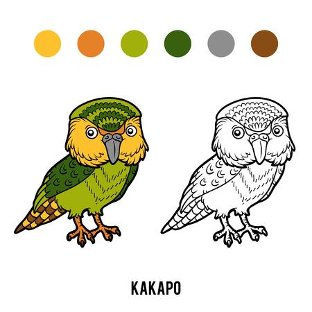 coloration: Coloring book for children, Kakapo parrot
