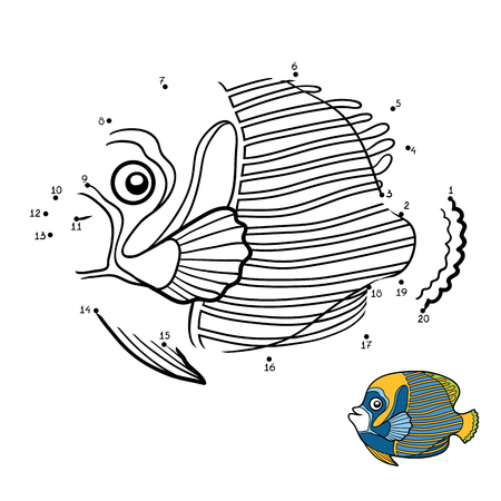 pomacanthus imperator: Numbers game, education dot to dot game for children, Emperor angelfish Illustration