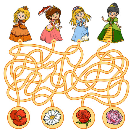Maze game, education game for children. Little princess and flowers Illustration