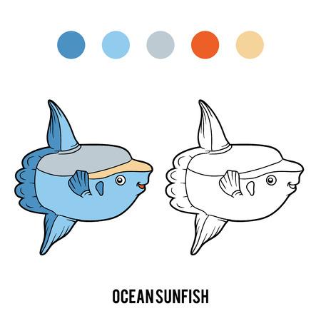 Coloring book for children, Ocean sunfish